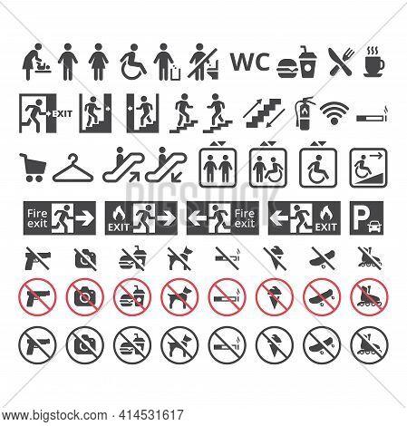 Shopping Center Or Mall Information Vector Sign Set. Public Building Signs For Restaurants Restroom,