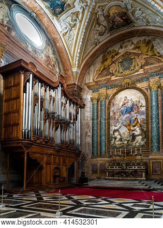 Rome - May 8, 2014: Pipe Organ In Old Basilica St Mary Of Angels And Martyrs Built Inside Baths Of D