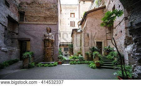Rome - May 8, 2014: Courtyard Of Old Basilica St Mary Built At Ancient Roman Baths Of Diocletian In