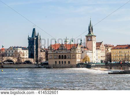 Prague, Czech Republic, March 22, 2019: Prague, Czech Republic, Vltava River, View Of Charles Bridge