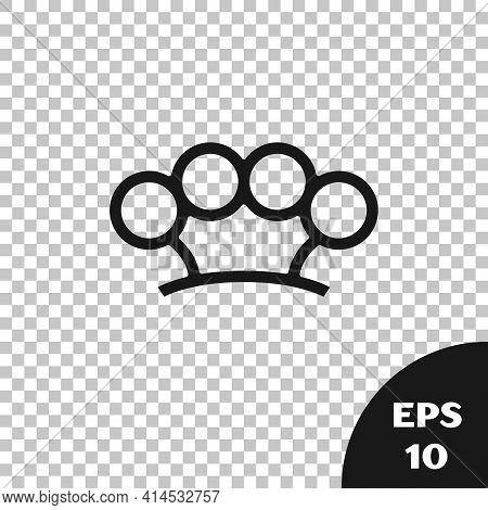 Black Brass Knuckles Icon Isolated On Transparent Background. Vector