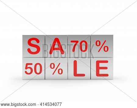 Silver Cubes With The Words Sale Fifty And Seventy Percent. 3d Illustration