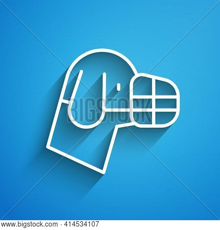 White Line Dog In Muzzle Icon Isolated On Blue Background. Accessory For Dog. Long Shadow. Vector