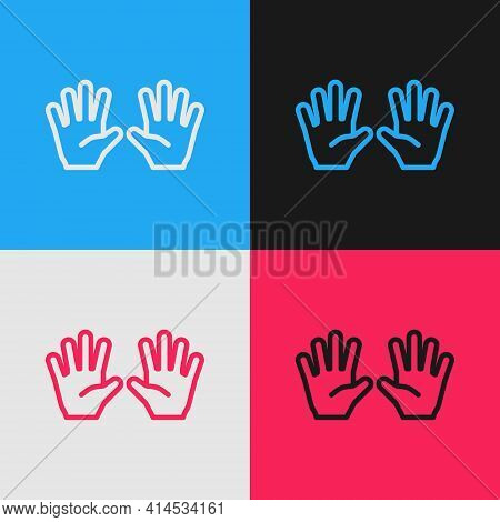 Pop Art Line Medical Rubber Gloves Icon Isolated On Color Background. Protective Rubber Gloves. Vect