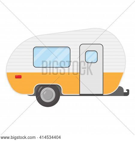 Trailer Caravan, Motorhome, Mobile Home For Country Vacation. Side View Camping Trailers, Isolated O