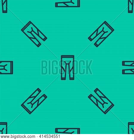 Blue Line Wetsuit For Scuba Diving Icon Isolated Seamless Pattern On Green Background. Diving Underw
