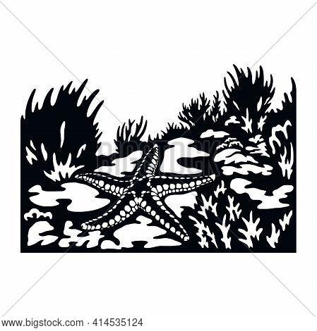 Starfish, Wildlife Stencils - Silhouettes, Wildlife Clipart, Iron On, Vector, Vinyl Design.