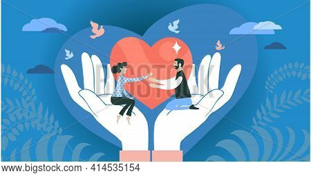 Vector Illustration. The Concept Of Social Support, Love, Charity, Protection And Hope. People Stret
