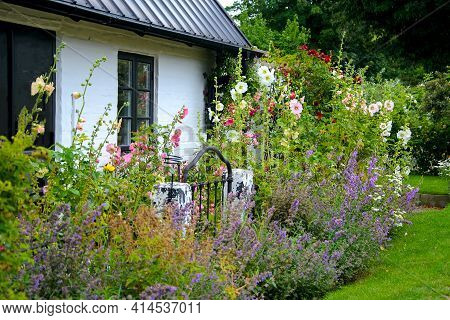 Beautiful Natural Garden With Multicolored Blooming Flowers In Front Of A Typical Traditional Old Sc