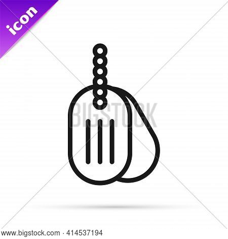 Black Line Military Dog Tag Icon Isolated On White Background. Identity Tag Icon. Army Sign. Vector