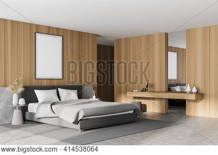 Light Bedroom Interior With Bed And Pillows, Grey Concrete Floor And Dressing Table With Mirror, Sid
