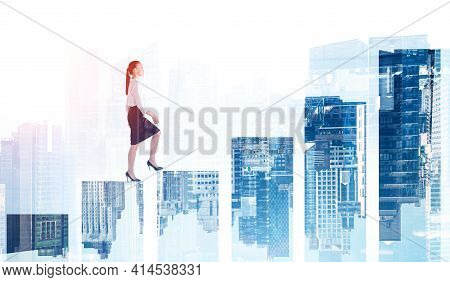 Woman In Shirt And Skirt Climbing Bar Chart, Double Exposure With Office Buildings. Concept Of Profe