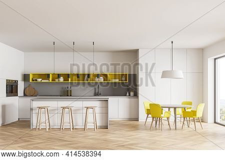 Light Kitchen Room With Dining Table And Chairs, Wooden Floor. Kitchen Set Interior With Bar Seats A