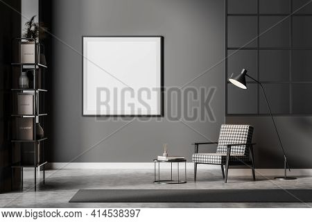 Modern Dark Waiting Room Interior Including Cosy Armchair, Glass Lattice Partition, Empty Poster On
