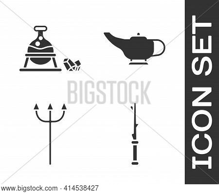 Set Magic Wand, Witch Cauldron And Magic Stone, Neptune Trident And Magic Lamp Or Aladdin Icon. Vect