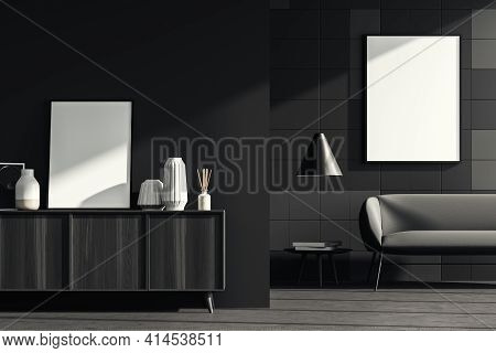 Dark Living Room Interior With A Comfortable Couch, Small Coffee Table And Cosy Wooden Sideboard. Gr