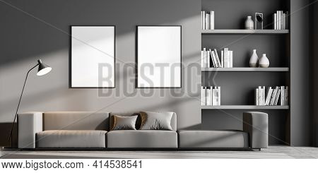 Modern Living Room Interior With Two Empty Poster On Grey Wall, Oak Wooden Parquet Floor, Bookshelf,