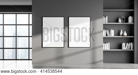 Modern Art Gallery Room Interior With Two Empty White Poster On Grey Wall, Panoramic Window With Sin