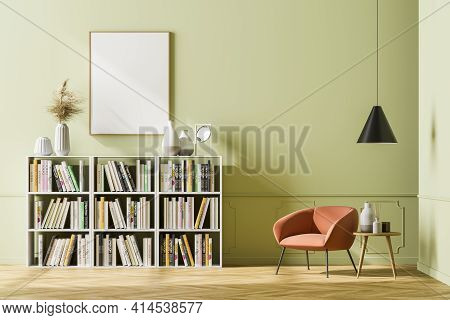 Cosy Waiting Room Interior With Comfortable Armchair And Empty Poster On The Beige Wall Above The Bo
