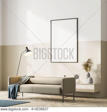 Corner View Of Bright Scandinavian Living Room Interior With Beige Couch On Oak Wooden Parquet Floor