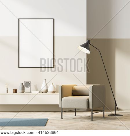 Bright Contemporary Waiting Room Interior With Beige Armchair And Sideboard On Oak Wooden Parquet Fl