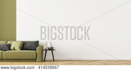 Large And Cosy Living Room Interior With Green Comfortable Sofa And Empty White Wall. Oak Wooden Par