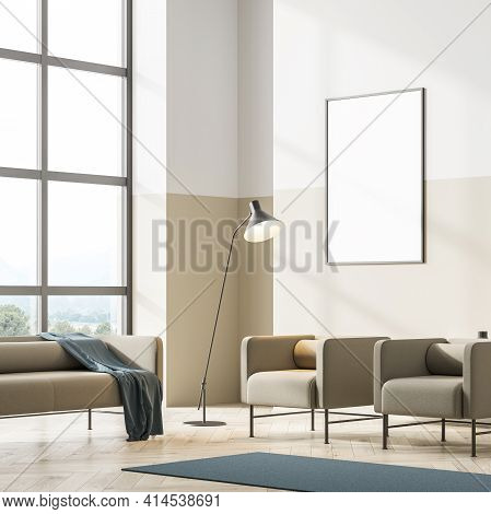 Bright Contemporary Living Room Interior With Beige Couch And Two Armchair On Oak Wooden Parquet Flo