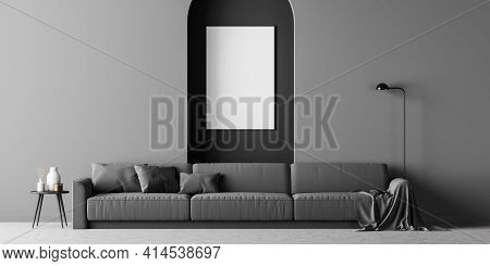 Scandinavian Living Room Interior With A Dark Sofa On The Concrete Floor, Cosy Coffee Table And Whit