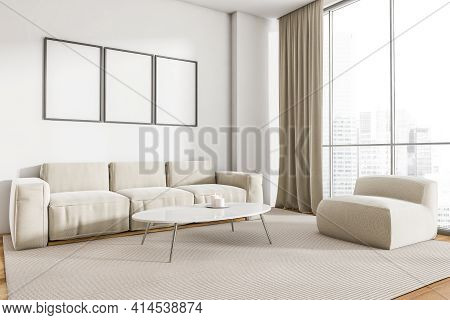 Home Interior With White Couch And Ottoman On Carpet, Coffee Table With Candle. Minimalist Light Roo