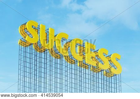 Large Yellow Signboard On Metal Frame With The Word Success. Clear Sky In The Background. Concept Of