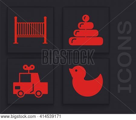 Set Rubber Duck, Baby Crib Cradle Bed, Pyramid Toy And Toy Car Icon. Vector