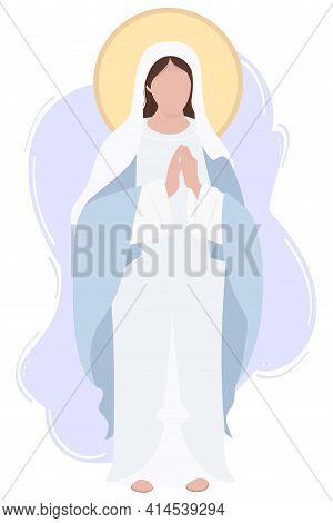 Holy Mary Mother Of God Or Mother Of God. Virgin Mary In A Blue Maforia Prays Meekly. Vector Illustr