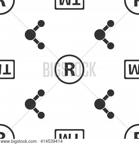 Set Trademark, Registered Trademark And Share On Seamless Pattern. Vector