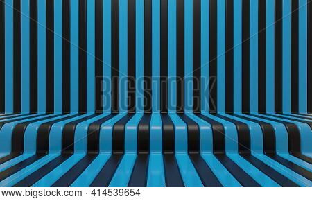 Realistic Abstract Geometric Background With Black And Blue Convergence Stripes With Shadows And Gla