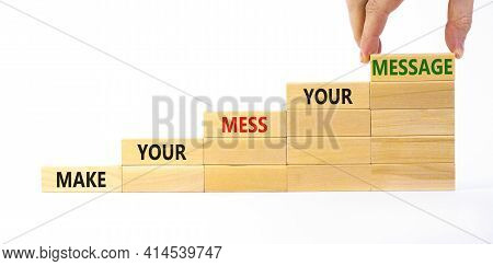 Business Concept Growth Success Process. Wood Blocks Stacking As Step Stair On White Background, Cop