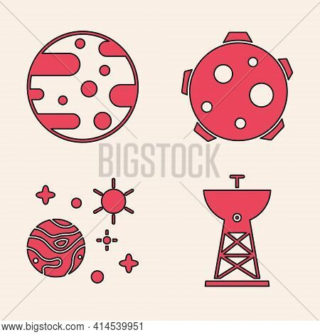 Set Satellite Dish, Planet Mars, Planet And Space And Planet Icon. Vector