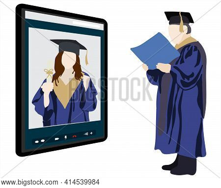 Graduation Online. Virtual Online Ceremony On A Tablet. The Professor Presents The Diploma To The St