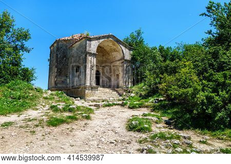 Mausoleum Of Dzanike-khanym In Cave City Chufut-kale, Bakhchisaray, Crimea. It's Built In Xv Century