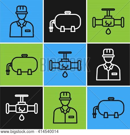 Set Line Oilman, Broken Pipe With Leaking Water And Oil Industrial Factory Building Icon. Vector