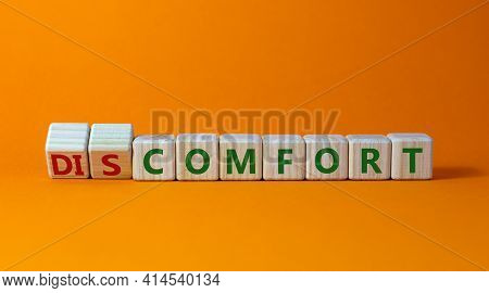 From Discomfort To Comfort Symbol. Turned Cubes And Changed The Word 'discomfort' To 'comfort'. Beau