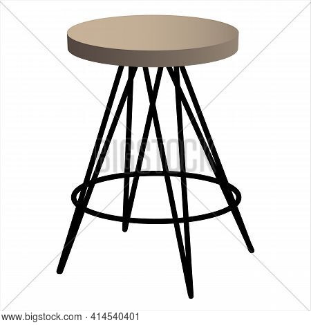 Round Loft Style Chair. Wooden With A Metal Frame. Flat Style. Vector Illustration