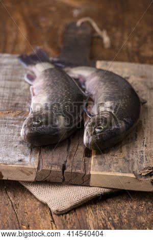 Closeup Of Two Raw Chars On Rustic Wood