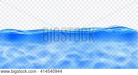 Translucent Water In Blue Colors With Caustics Ripple, Isolated On Transparent Background. Transpare