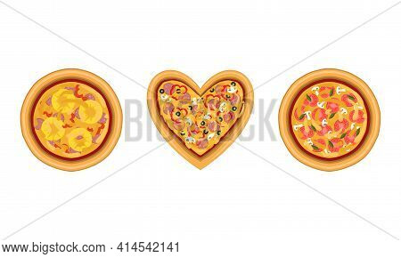 Pizza As Savory Italian Dish With Round Flattened Dough Topped With Sliced Tomatoes And Wurst Above