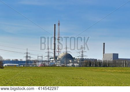 Philippsburg, Germany - March 2020: Former Power Plant With Demolished Cooling Towers During Nuclear