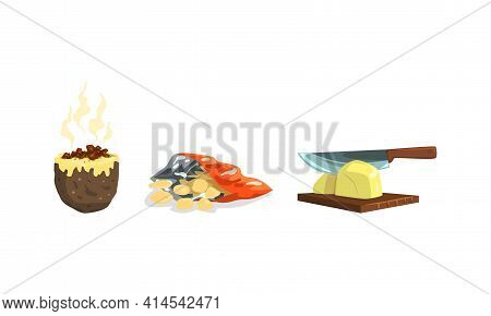 Hot Baked Potato With Savory Stuffing And Crisps Or Chips Package As Food And Appetizers With Potato