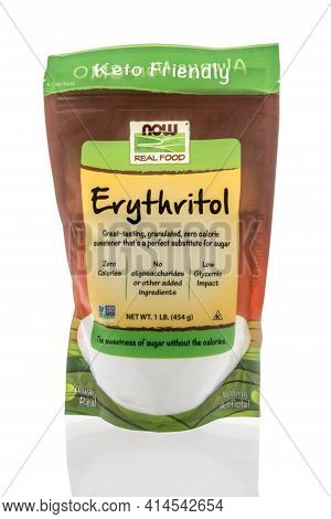 Winneconne, Wi - 27 March 2021: A Package Of Now Real Food Erythritol On An Isolated Background