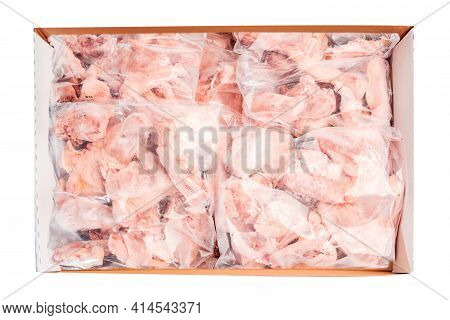 Raw Chicken Backs In A Package Packed In A Box For Delivery On A White Isolated Background, Top View