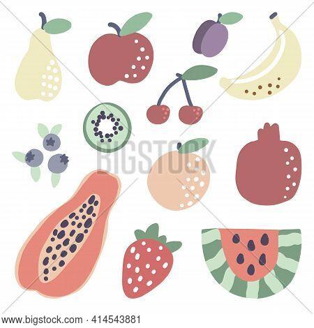 Doodle Tropical Fruit. Papaya Watermelon Orange Strawberry Summer Food. Vector Vegetarian Banana Kiw