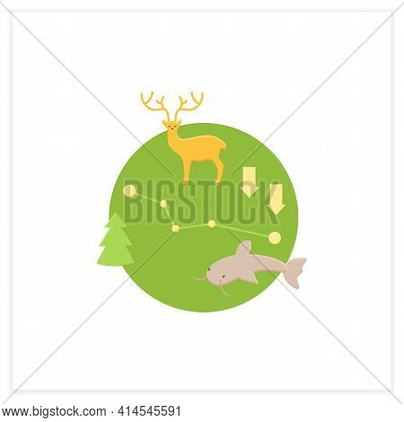Biodiversity Loss Flat Icon.losing Different Kinds Flora, Fauna.disappearance Species Can Disrupt Ec